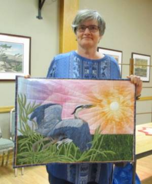 Dale McMillan and her Crane quilt
